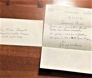 Una lettera di ringraziamento di Raf Vallone al grande sarto