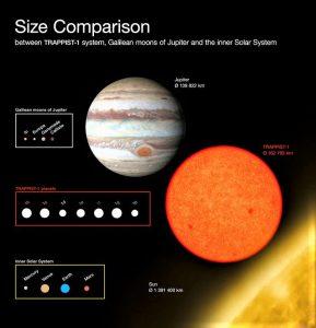 La stella Trappist ! è piccola e fredda. La sua dimensione è poco più che il pianeta Giove (Crediti ESO Furtak)