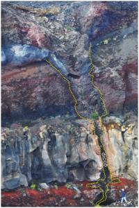 Dicco magmatico che ha alimentato l'eruzione etnea del 1809. Le linee gialle a trattini indicano il bordo dell'intrusione magmatica (dicco). Per avere un'idea delle dimensioni, si osservi la persona ritratta nella foto in basso a destra