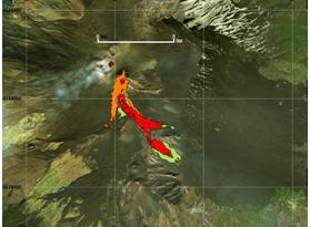 Mappa del flusso di lava ottenuta elaborando il dato Sentinel-2A del 19 Marzo 2017. In verde è evidenziata la colata alla data di acquisizione del satellite