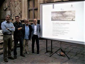 """""""Le colate raccontate"""" al Castello Ursino il 27 maggio 2016. Da sinistra: Sergio Mangiameli, Aldo Leontini, Gaetano Perricone, Stefano Branca"""