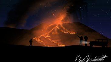 Eruzione dell'Etna in un bellissimo disegno di Klaus Dorschfeldt