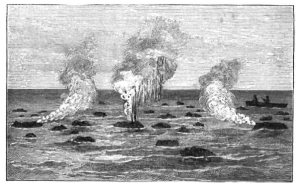 """Disegno dell'epoca raffigurante """"palloni di lava"""""""