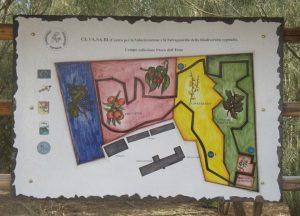 La tabella descrittiva in pietra lavica della Banca del Germoplasma del Parco dell'Etna
