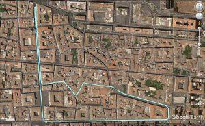Il percorso della marcia di solidarietà per Matteo domenica 10 dicembre nel centro storico di Catania