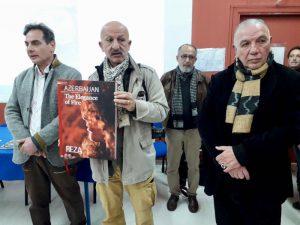 Da sx Gianfranco Molino (vicepresidente Fiumara d'Arte) Reza Deghati, il fratello Manoocher Deghati e Antonio Presti