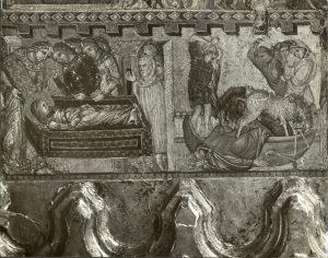 Maestro della Sant'Agata (sec. XIII) Funerali di sant'Agata; Morte di Quinziano. Chiesa di Sant'Agata a Cremona