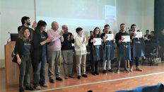 CS_1 Flazio.com - La premiazione con i quattro vincitori all'Itet di Caltanissetta