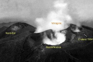 Il Cratere del 1964 in una immagine tratta da una cartolina postale successiva al 1968. La Bocca Nuova (in primo piano) comincia ad aumentare le sue dimensioni