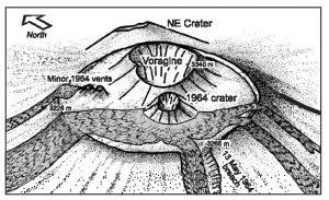 Localizzazione del Cratere del 1964 in uno schizzo dalla pubblicazione di B.Behnke, M.Neri e C.Sturiale.