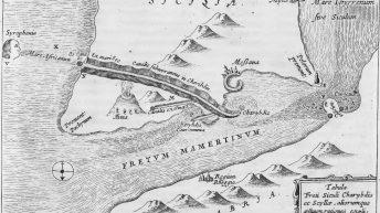 Lo Stretto di Messina, con l'Etna ed un ipotetico canale causa dei gorghi tra Scilla e Cariddi