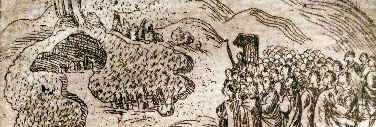 Il Sacro Velo di Sant'Agata viene portato contro il fiume di lava (da una illustrazione di Morabito)
