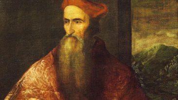 Tiziano Vecellio, ritratto di Pietro Bembo cardinale (particolare), Napoli, Galleria Nazionale di Capodimonte.