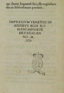 Colophon del De Ætna digitalizzato da Early European Books (anno «MVD», ovvero 1495