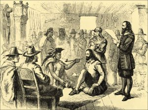 Il capo indiano Massasoit e il governatore della prima colonia inglese in America, John Carver, fumano la pipa della pace (dal web)