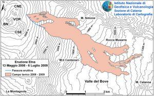 La Mappa schematica delle colate (INGV – 6 luglio 2009)