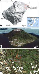 (A) L'isola di Stromboli. Il rettangolo rosso indica la zona studiata. Nell'inserto è mostrata la posizione di Stromboli nel Tirreno Meridionale . (B) Veduta aerea dell'isola presa da nord (immagine di Google Earth) con la posizione delle trincee stratigrafiche scavate per la ricerca dei depositi di tsunami e del sito archeologico di San Vincenzo. (C) Dettaglio dell'area vicino alla costa, con posizione delle trincee (Dati mappa: SIO, NOAA, US Navy, NGA, GEBCO, TerraMetrics, © 2018 Google).
