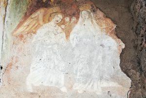 Affresco sulla parete esterna del primo Santuario di Mompileri (foto S. Scalia)