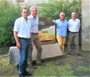 """Il gruppo de """"Le colate raccontate"""" nella sede del Parco dell'Etna: da sinistra Aldo Leontini, Sergio Mangiameli, Gaetano Perricone, Stefano Branca"""