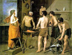 La fucina di Efesto nel famosi quadro di Diego Velazquez del 1630, al Museo del Prado di Madrid