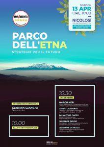 locandina evento 'Parco dell'Etna, strategie per il futuro' 13.4.19 Nicolosi h.10