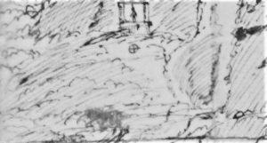 Particolare di una stampa dell'Eruzione dell'Etna del 1669 (notare la forca)