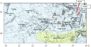 Batimetria del fondale tirrenico meridionale (Fonte http://astrolabio.amicidellaterra.it)