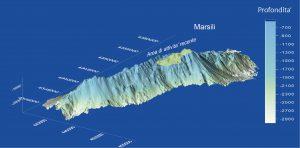 Immagine tridimensionale del vulcano Marsili (Fonte http://astrolabio.amicidellaterra.it)