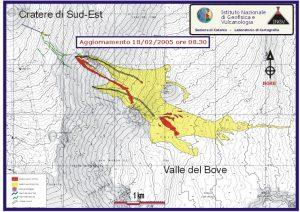 L'area ricoperta dalle lave dell'eruzione alla data del 18 febbraio 2005 (I.N.G.V.)