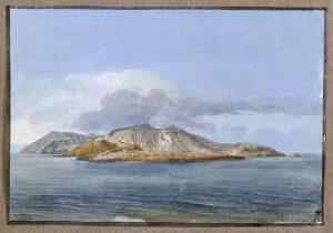 Jean-Pierre-Laurent Hoüel – Veduta dell'Isola di Vulcano con Vulcanello in primo piano (1770) – Museo dell'Hermitage