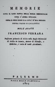 Memorie sopra il lago Naftia – Francesco Ferrara (1805)