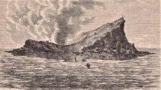 Vista del cratere del nuovo vulcano il 29 settembre 1831 (da Le Monde Illustré - N° 384 - 20 Agosto 1864)