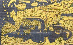 La Tabula Rogeriana di Edrisi: particolare dell'area mediterranea (da Konrad Miller). Nell'originale il nord è in basso.