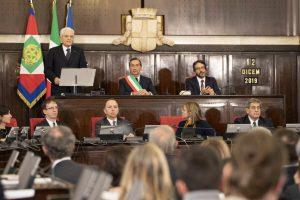 Il Presidente dell Repubblica Sergio Mattarella mentre pronuncia il discorso a Palazzo Marino a Milano