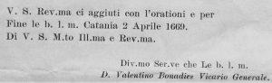 Parte conclusiva della lettera del Don Valentino Bonadies