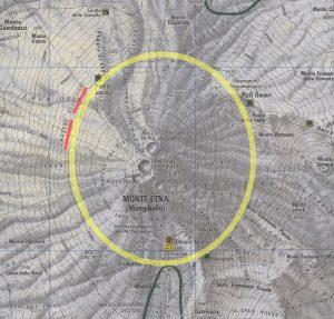 L'area approssimativamente occupata dal Cratere Ellittico (su carta TCI 1:50.000)