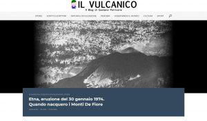 La pagina del blog ilVulcanico con il primo dei miei articoli, pubblicato nel 2018
