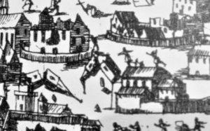 Particolare da una stampa di autore sconosciuto, relativa alla distruzione di Catania nel 1693
