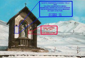 Le due targhe apposte nel 1955 e nel 1961, tolte nel corso dell'eruzione del 1983 (cartolina postale, collez. pers.)