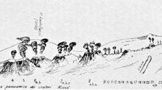 Schizzo del teatro eruttivo del 1910 con il Monte Riccò (da Emilio Oddone - L'eruzione etnea del marzo-aprile 1910)