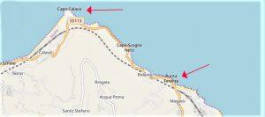 Capo CALAVA' Cartina autostradale