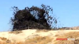 Il più recente ribaltamento del terreno, in una drammatica foto dal sito web Agrigento Notizie